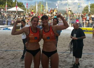 Adriana Matei și Beata Vaida, la turneul de volei pe plaja de la Miguel Pereira 2018