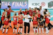 Hora bucuriei pentru nationala feminina de volei a Turciei dupa calificarea in finala VNL 2018