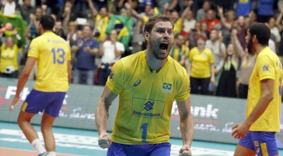 bruno, capitanul braziliei, bucuros dupa victoria cu Franta de la Campionatul Mondial de volei 2018