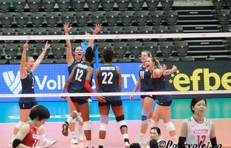 Voleibalistele echipei SUA, bucuroase după o nouă victorie in VNL 2019