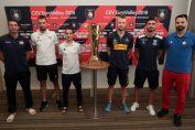 Laurențiu Lică, alături de ceilalți căpitani ai naționalelor din Grupa A a Campionatului European