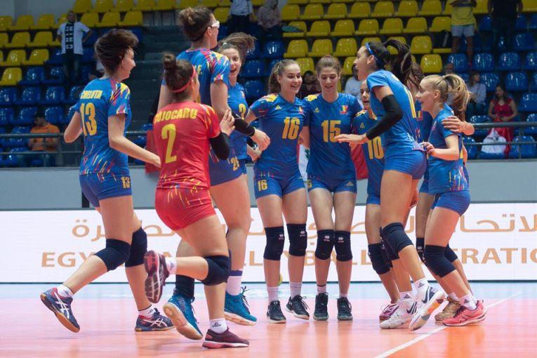 Bucuria jucătoarelor naționalei României, după calificarea în finala pentru locu l5 de la Campionatul Mondial U18