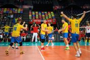 Bucuria voleibalistilor romani dupa victoria cu Portugalia de la Campionatul European
