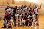 Jucătoarele formatiei CSU Oradea, după victoria din prima etapă, obținută în fața formației Politehnica Timișoara în Seria Vest a Diviziei A2 a campionatului 2019/ 2020