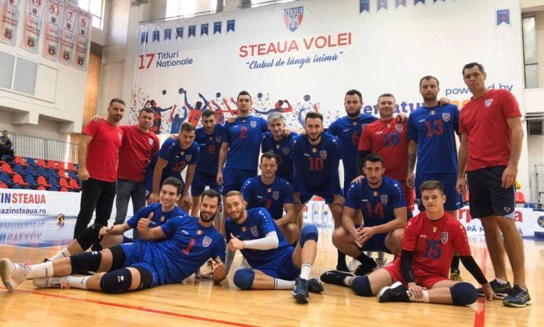 Bucuria jucatorilor echipei de volei Steaua după prima victorie din Divizia A2, campionatul 2019/ 2020. Tudor Constantinescu setter, claudiu dumitru setter