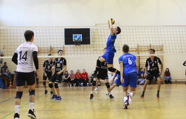 Tudor Constantinescu setter volleyball in action at romanian volleyball team CTF Mihai I