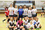Jucătoarele de volei ale echipei Tomis Constanta, inaintea unul meci din Seria Est a Diviziei A2 la volei feminin