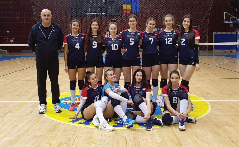 Echipa de junioare CSS Sibiu după victoria din etapa a șaptea a campionatului 2019/ 2020
