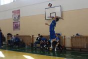 Tudor Constantinescu, romanian setter of national volleyball junior champions CTF Mihai I Bucharest at serve