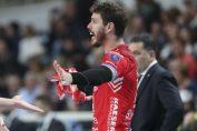 Ridicătorul brazilian Bruno Rezende își liniștește coechipierii în timpul meciului Trentino - Lube Civitanova