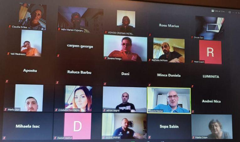 O parte dintre antrenorii participanți la întâlnirea online de miercuri