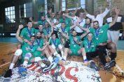 Bucuria jucătorilor echipei de volei Panathinaikos Atena după cucerirea titlul de campioni ai Greciei în sezonul 2019/ 2020