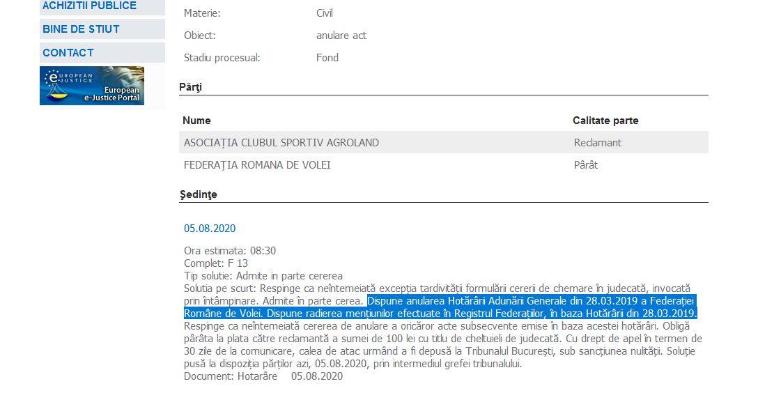 Hotărârea Tribunalului Bucuresti in procesul intentat de Agroland Timisoara Federatiei Romane de Volei