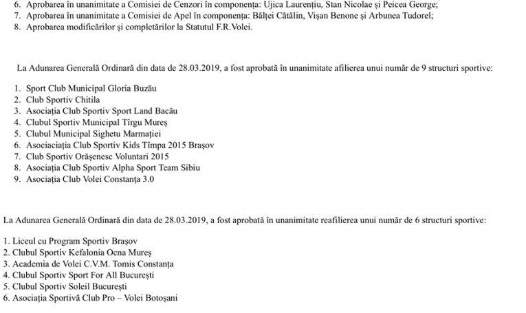 Hotărârile Adunării Generale ale FRV din data de 28 martie 2019 (partea a II-a)