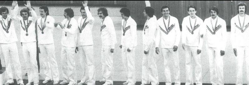 Nationala masculină de volei a României pe podiumul Jocurilor Olimpice de la Moscova 1980