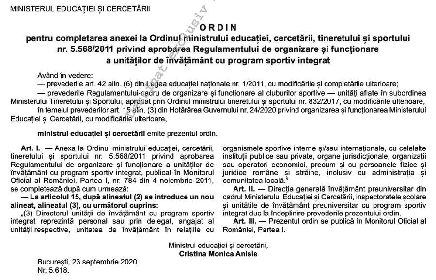 Primul ordin de ministru publicat în Monitorul Oficial din 25 septembrie