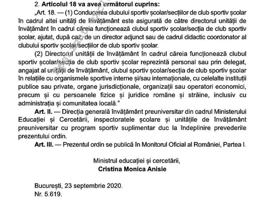 Al doilea ordin de ministru publicat în Monitorul Oficial din 25 septembrie