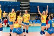 Bucuria jucătoarelor noastre după un punct câștigat în finala pentru locul 5 de la Europenele Under 17
