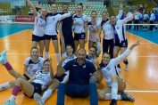 Bucuria jucătoarelor din Medgidia, după victoria obținută la Lugoj