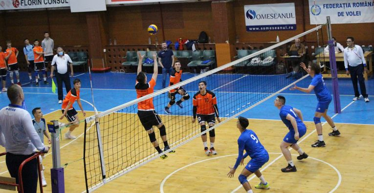 Tudor Constantinescu setter of romanian junior volleyball team CTF Mihai I in action at final tournament of the championship 2020/ 2021