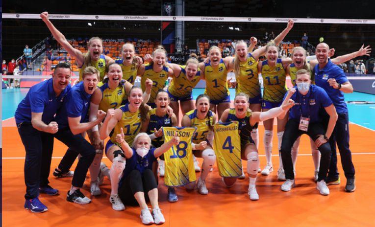 Bucuria calificării suedezelor în sferturile de finală ale Campionatului European