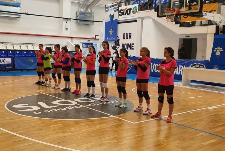 Echipa de cadete CSS Târgoviște la startul meciului cu CSO Voluntari