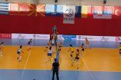Imagine din meciul Romania - Serbia, din semifinalele Campionatului Balcanic Under 16