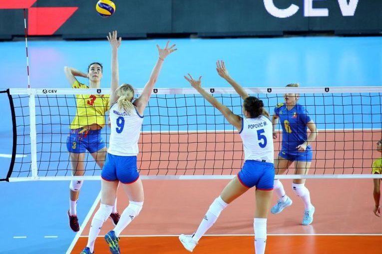 Rodica Buterez în atac în fața Serbiei, în optimile de finală ale Campionatului European