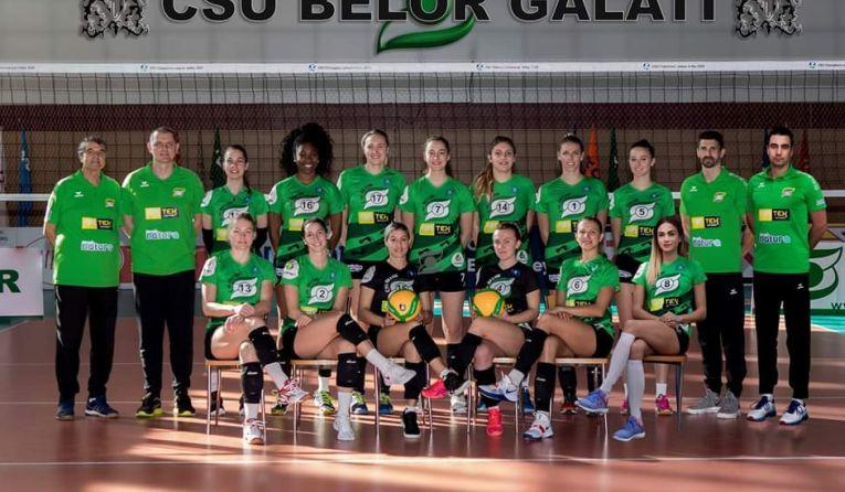 Jucatoarele formatiei Belor Galati, in fotografia de grup pentru sezonul 2019/ 2020 al Diviziei A1