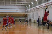 Tudor Constantinescu, the setter of romanian volleyball team Steaua Bucharest, at serve