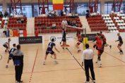 Fază de joc din meciul Dinamo - Unirea Dej, din etapa a 11-a a Diviziei A1 la volei masculin