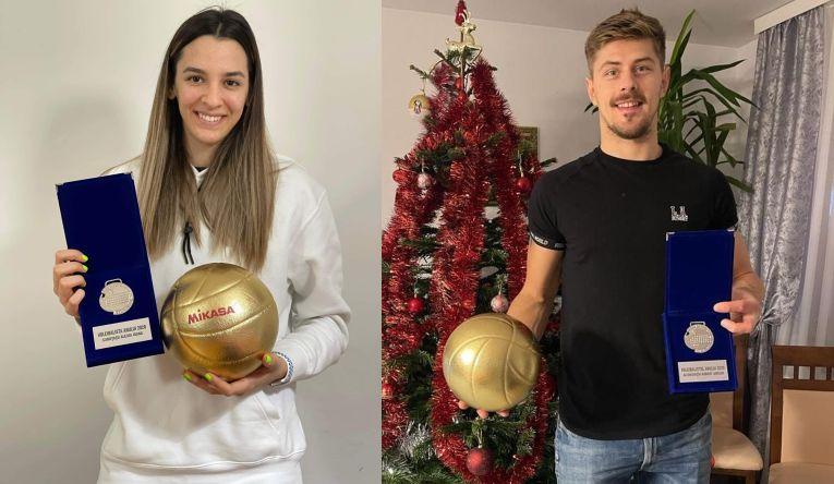 Alexia Căruțași și Adrian Aciobăniței, cu trofeele primite din partea FRV