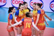 Bucuria fetelor noastre după un punct reușit în fața Spaniei