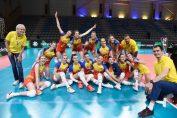 Bucuria naționalei României după victoria cu Spania, din Golden League