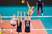 Isabelle Haak în atac contra Finlandei la Campionatul European