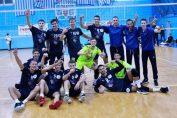 Bucuria jucătorilor de la Olimpia Titanii după victoria cu Știința, din etapa a treia a Diviziei A1